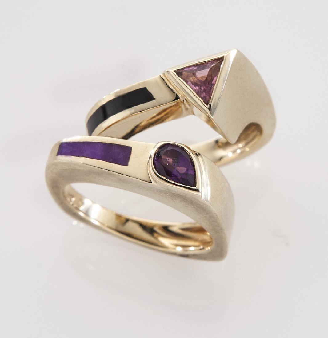 (2) 14K gold, gemstone and enamel rings.