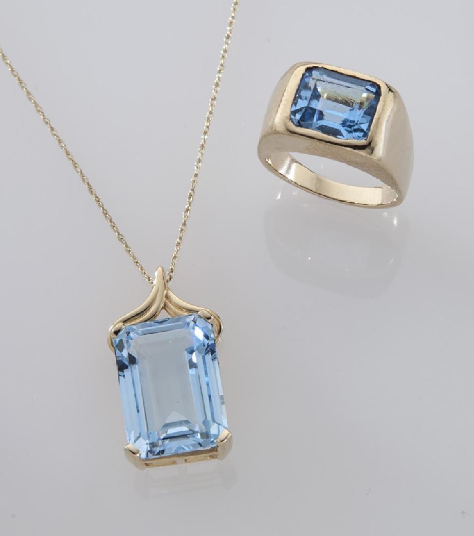 2 Pcs. 14K gold and blue topaz jewelry