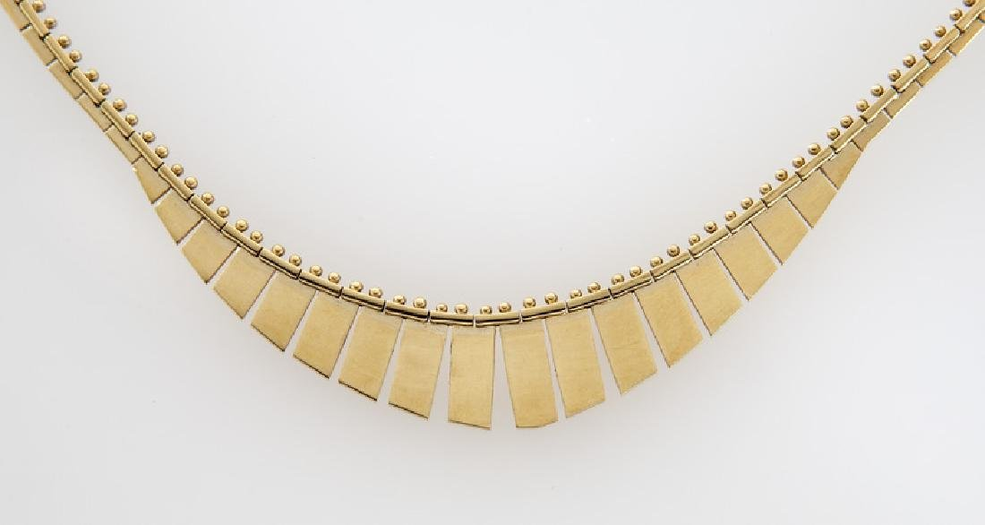 Italian 14K yellow gold necklace with fringe. - 2