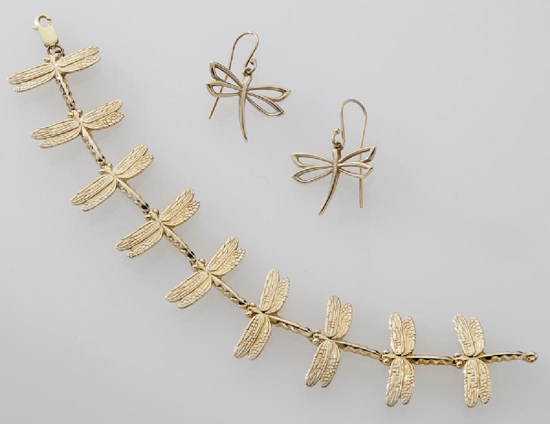 2 Pcs. 14K yellow gold dragonfly jewelry