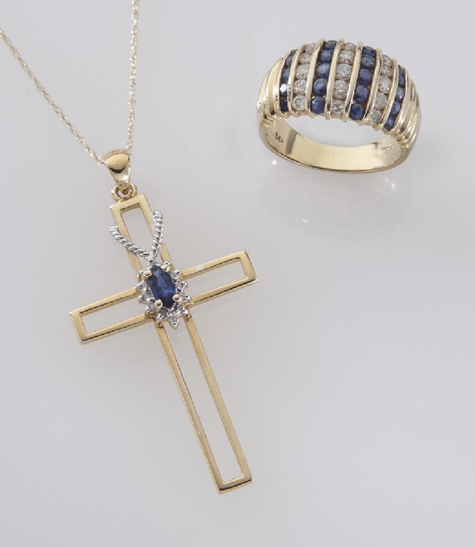2 Pcs. 14K gold, diamond and sapphire jewelry