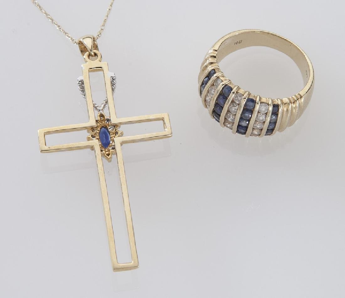 2 Pcs. 14K gold, diamond and sapphire jewelry - 2