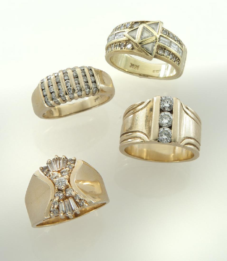 (4) 14K/18K gold and diamond rings.
