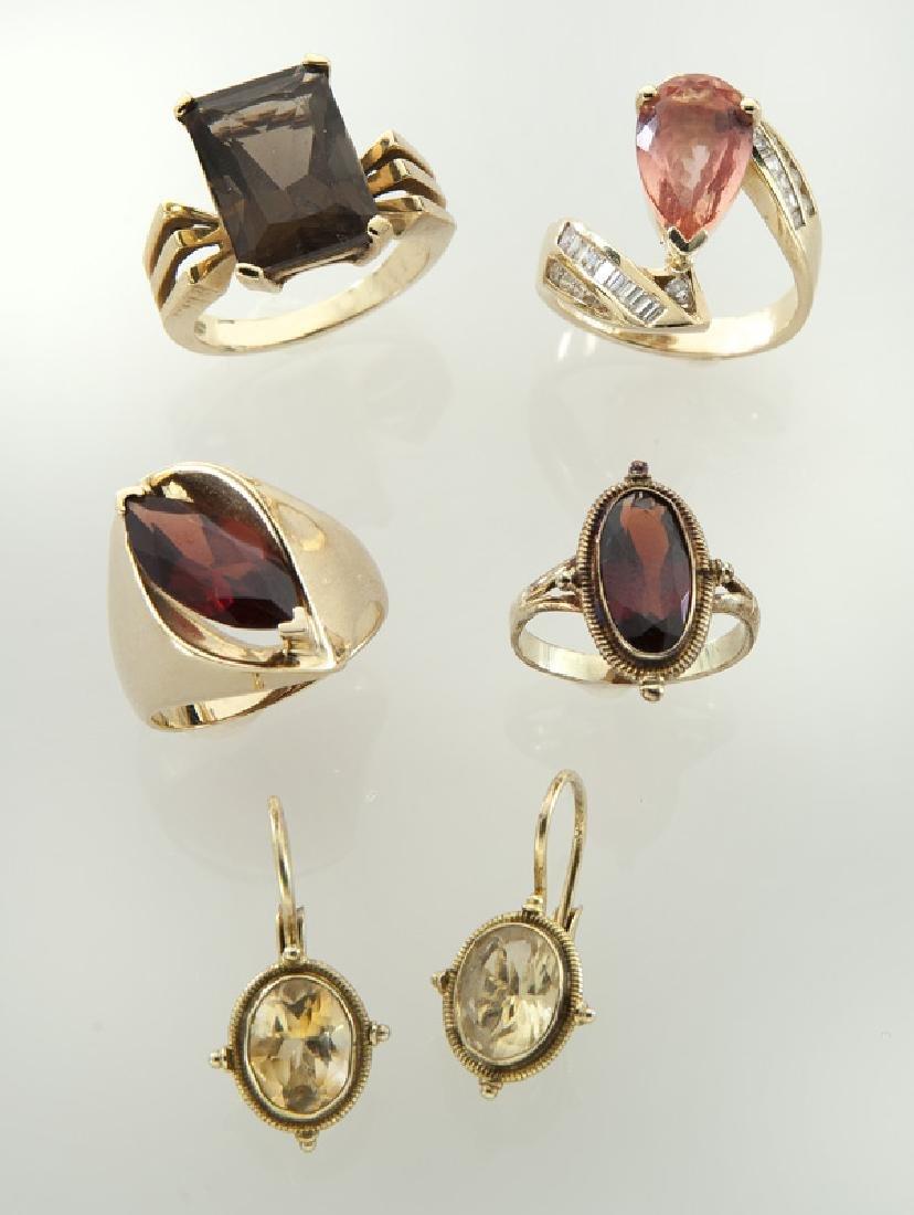 5 Pcs. 10K/14K gold and gemstone jewelry,