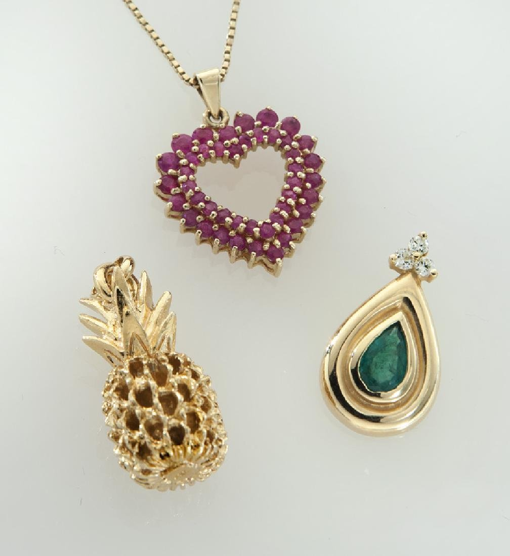 4 Pcs. 14K gold and gemstone jewelry,