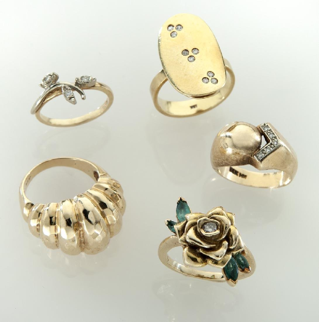 (5) 14K/18K gold and gemstone rings.