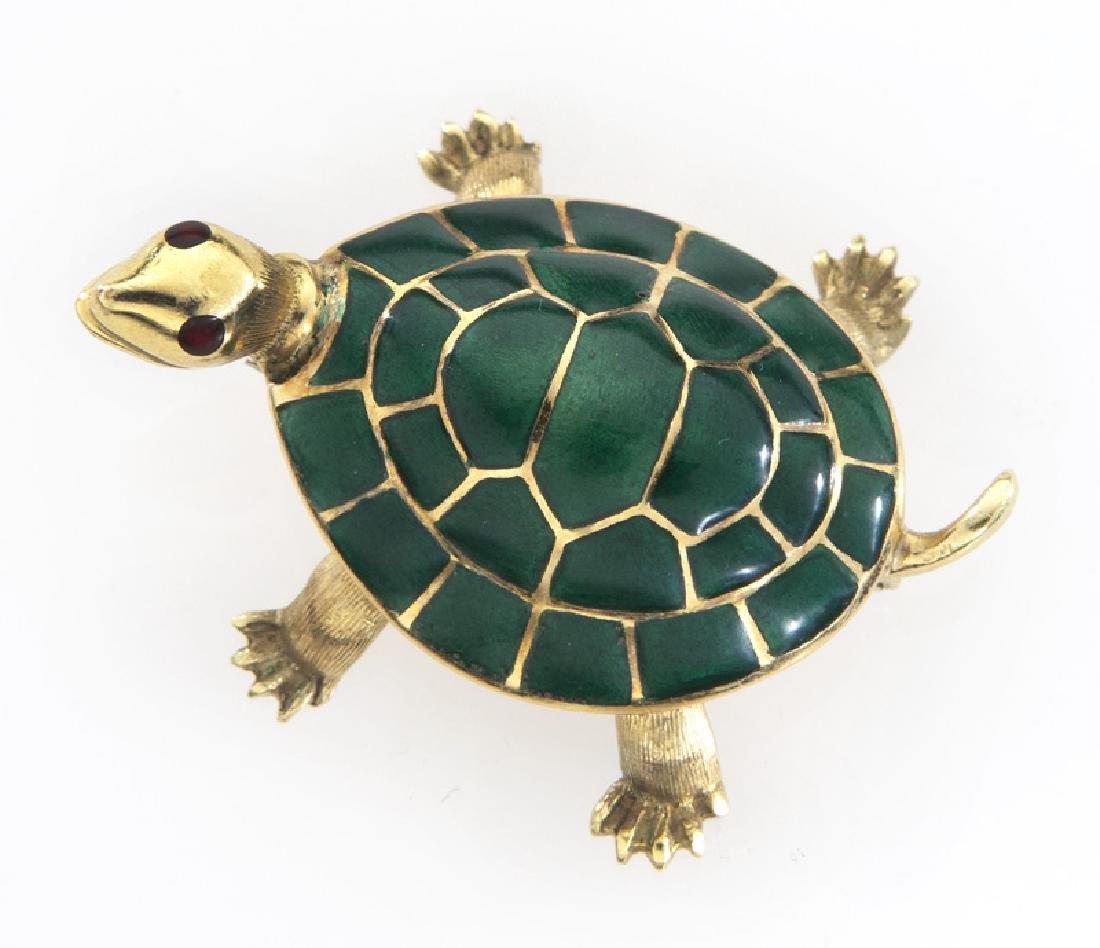 Italian 18K gold and enamel turtle brooch.
