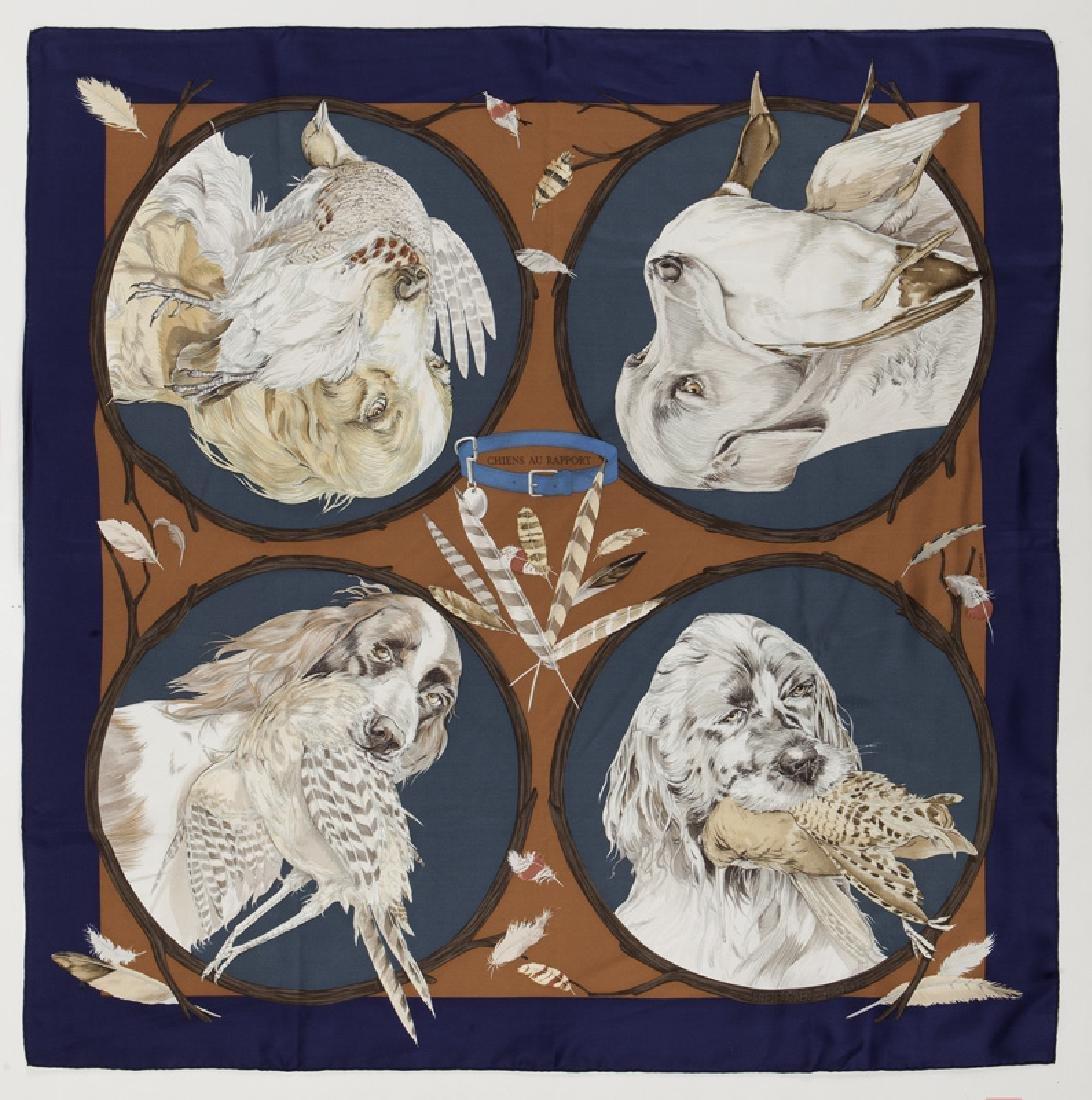 "Hermes ""Chiens au Rapport"" silk scarf"