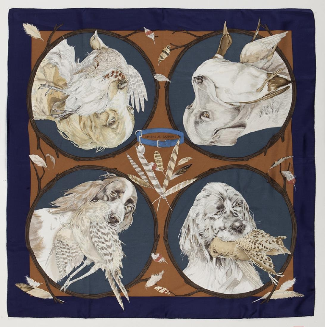 "Hermes ""Chiens au Rapport"" silk scarf"