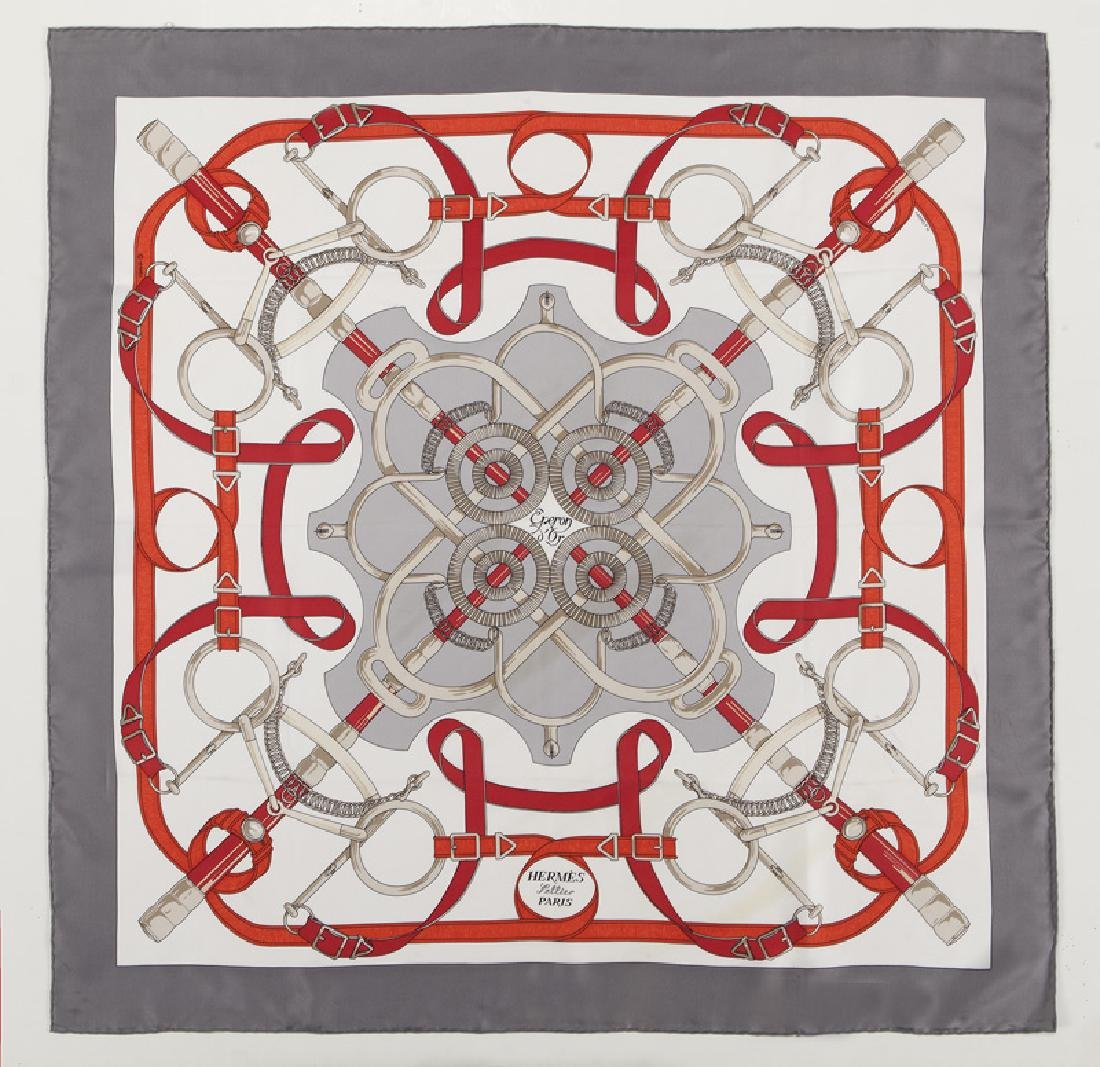 """Hermes """"Eperon D'Or"""" silk scarf"""