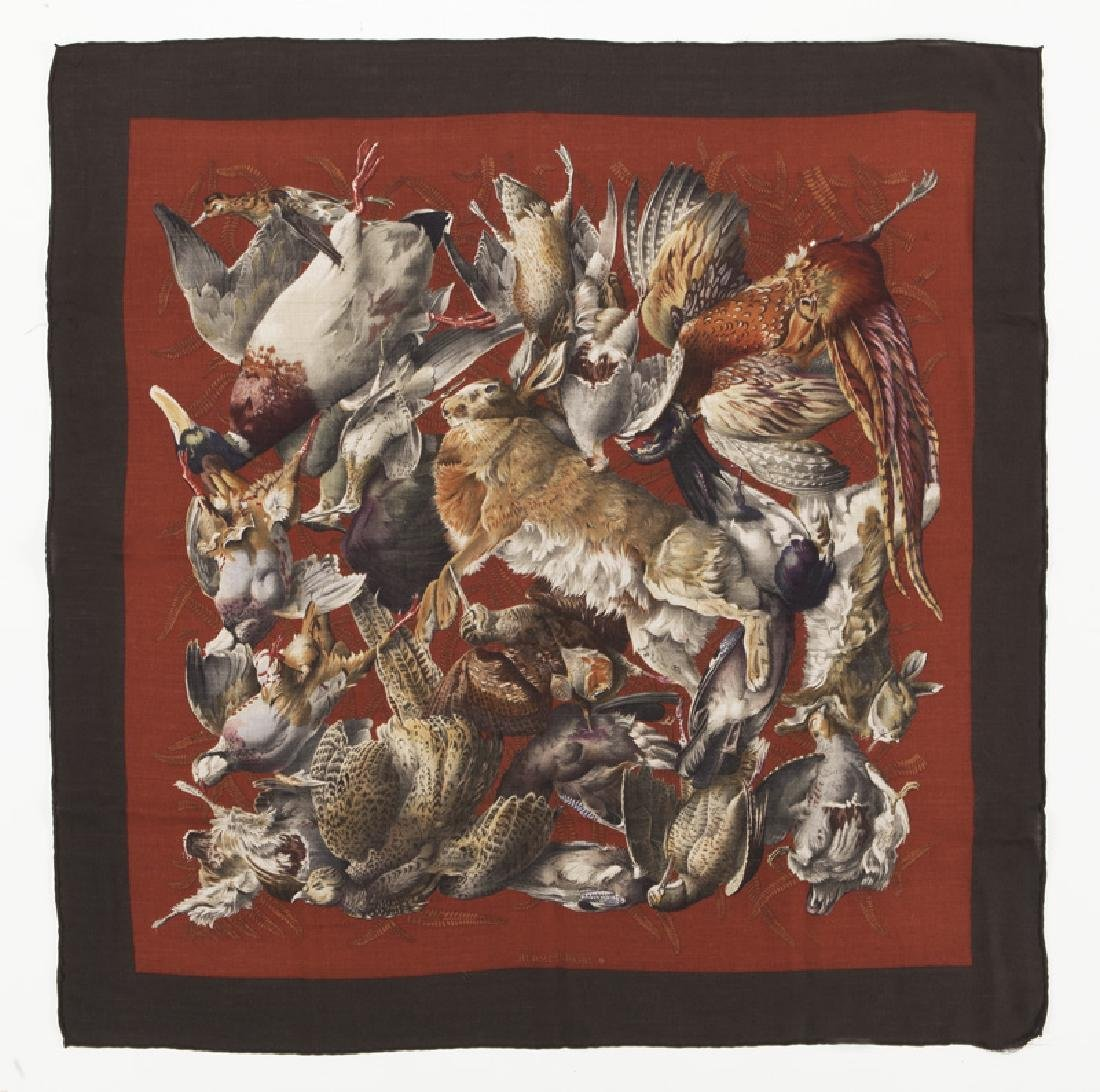 "Hermes ""Gibiers"" cashmere scarf"