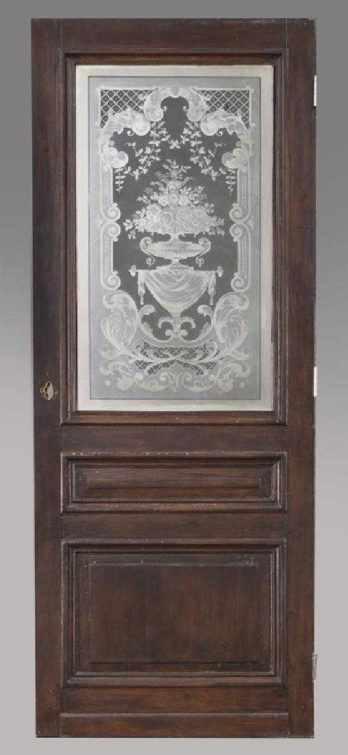 - Antique Wooden Door With Etched Glass Panel