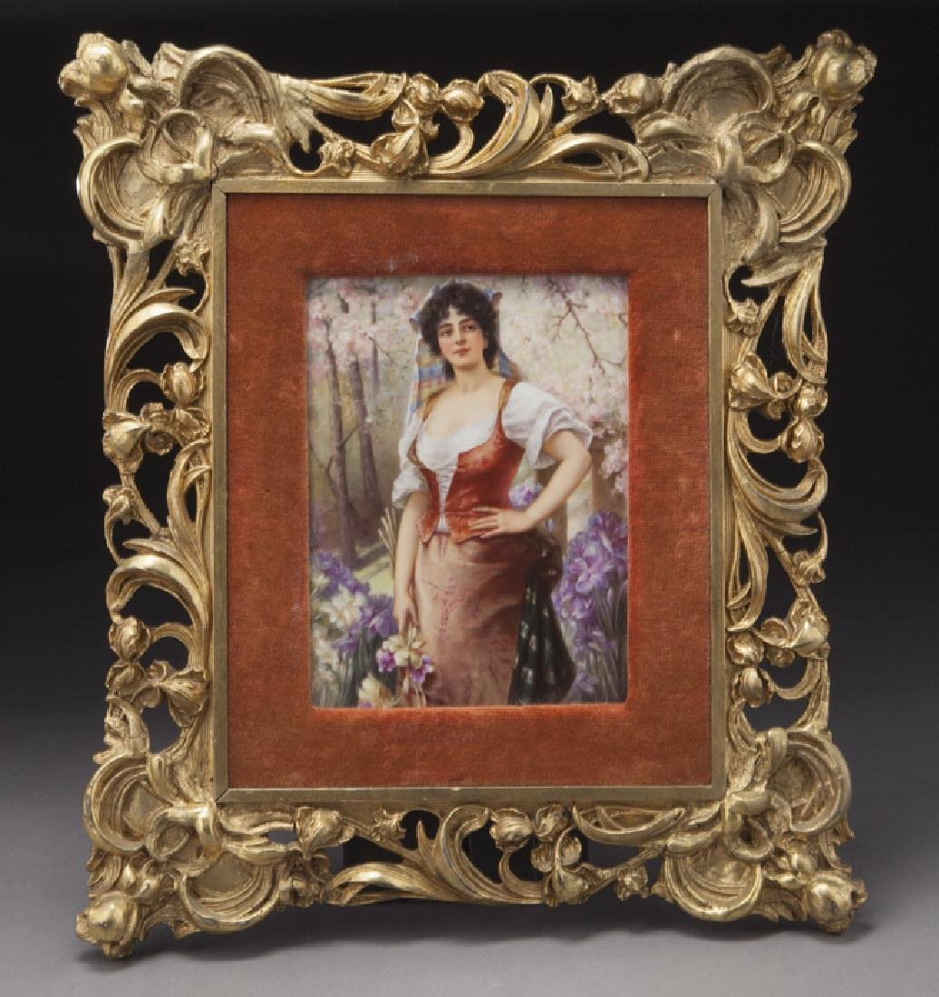 KPM painted porcelain plaque,