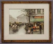 "André Gisson ""Paris Street Scene"" oil on canvas,"