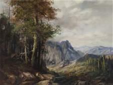 "A.D. Greer ""Untitled (Mountainous landscape)"" oil"