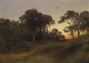 """Hermann Herzog """"The Oaks at Sunset, Florida"""" oil"""