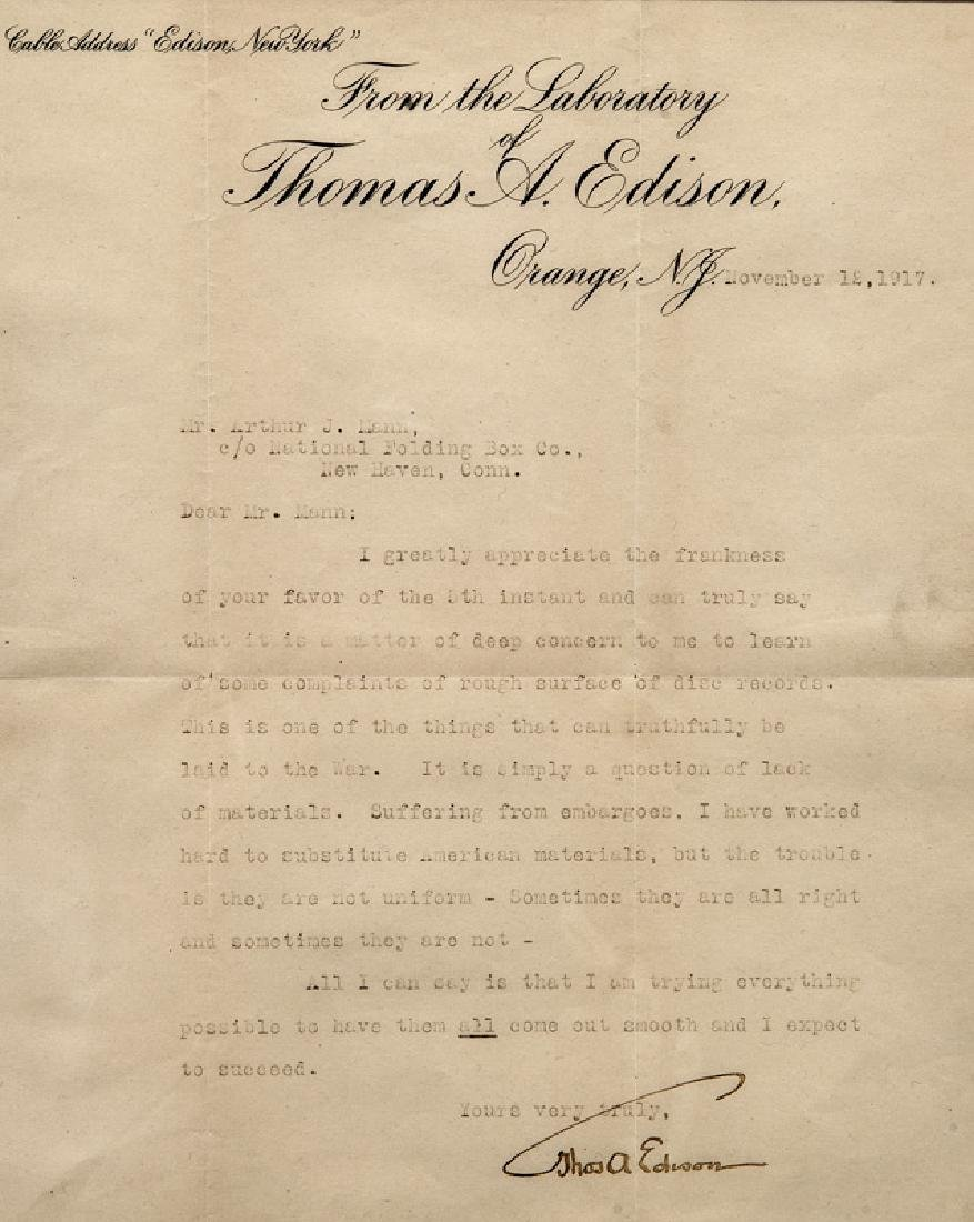 Thomas Alva Edison Three Typed Letters. - 2