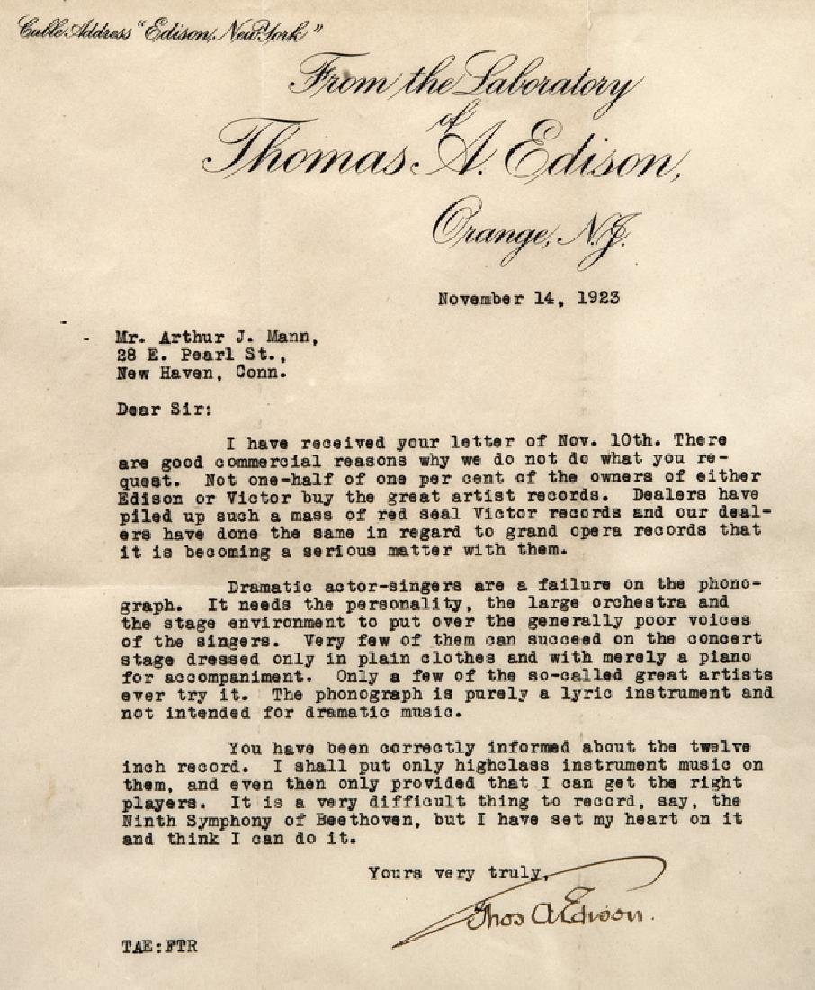 Thomas Alva Edison Three Typed Letters. - 3