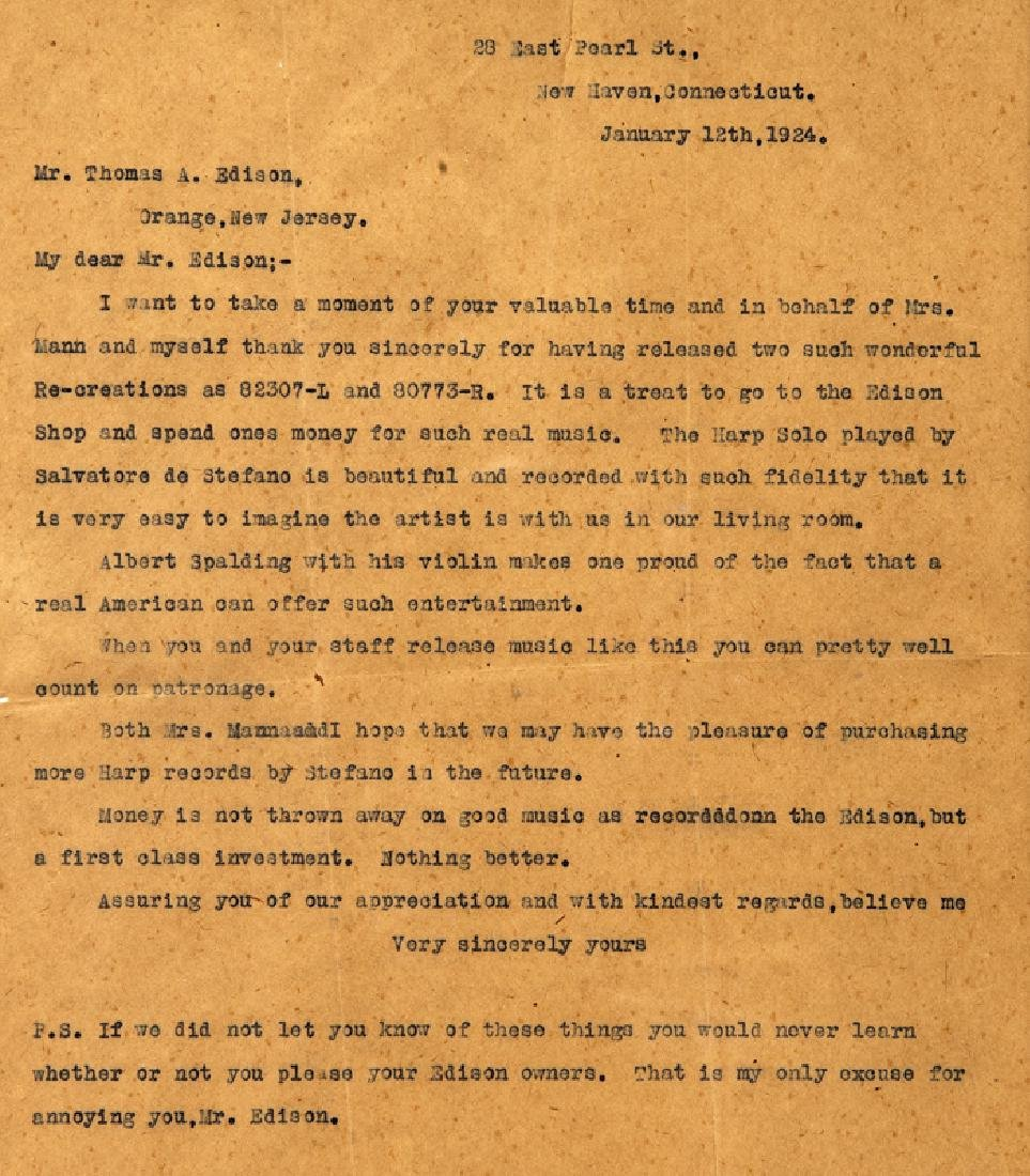 Thomas Alva Edison Three Typed Letters. - 4