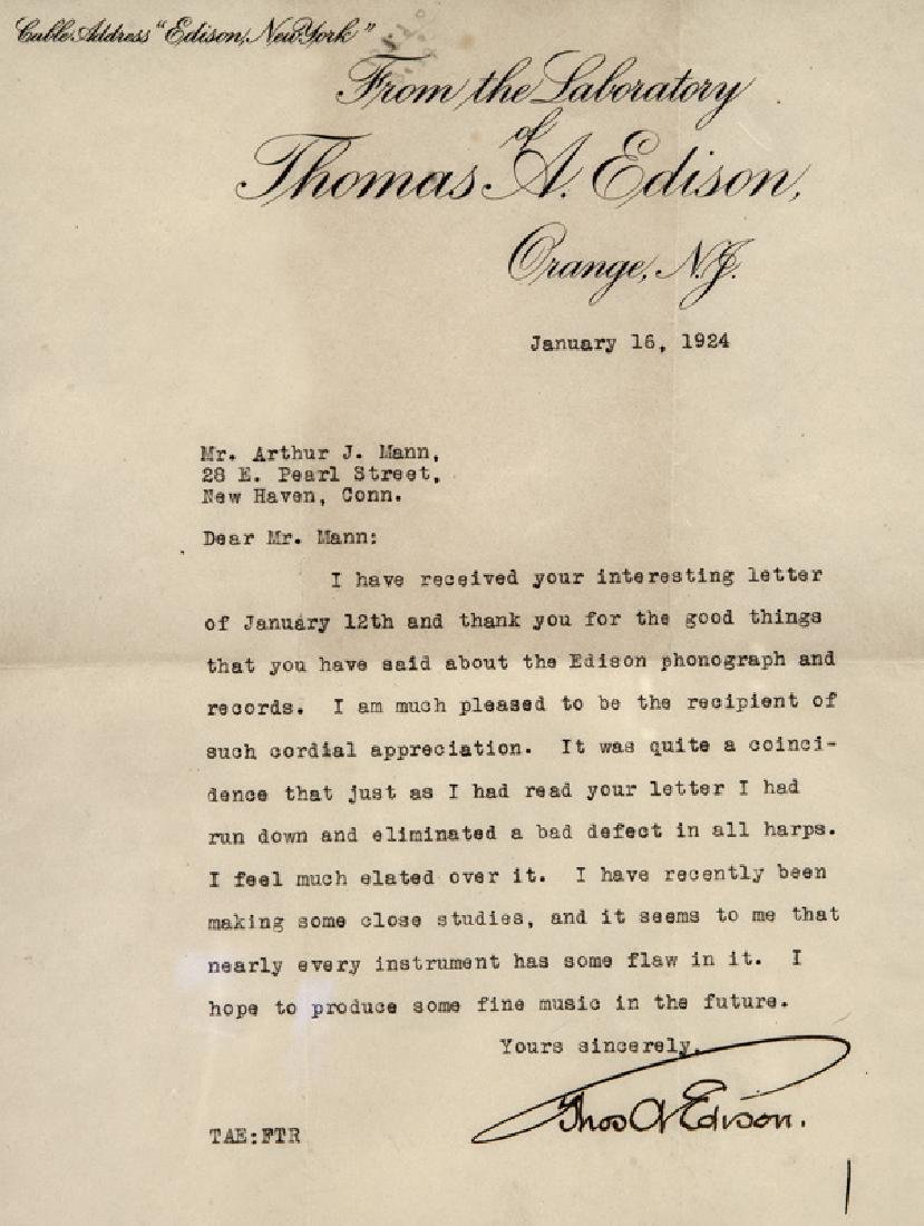 Thomas Alva Edison Three Typed Letters. - 5