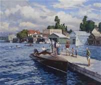 "T. M. Nicholas ""Windy Day Clayton Boat Races"" oil"