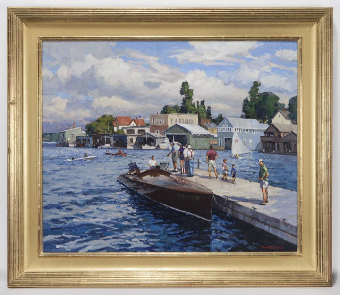 "T. M. Nicholas ""Windy Day Clayton Boat Races"" oil - 2"