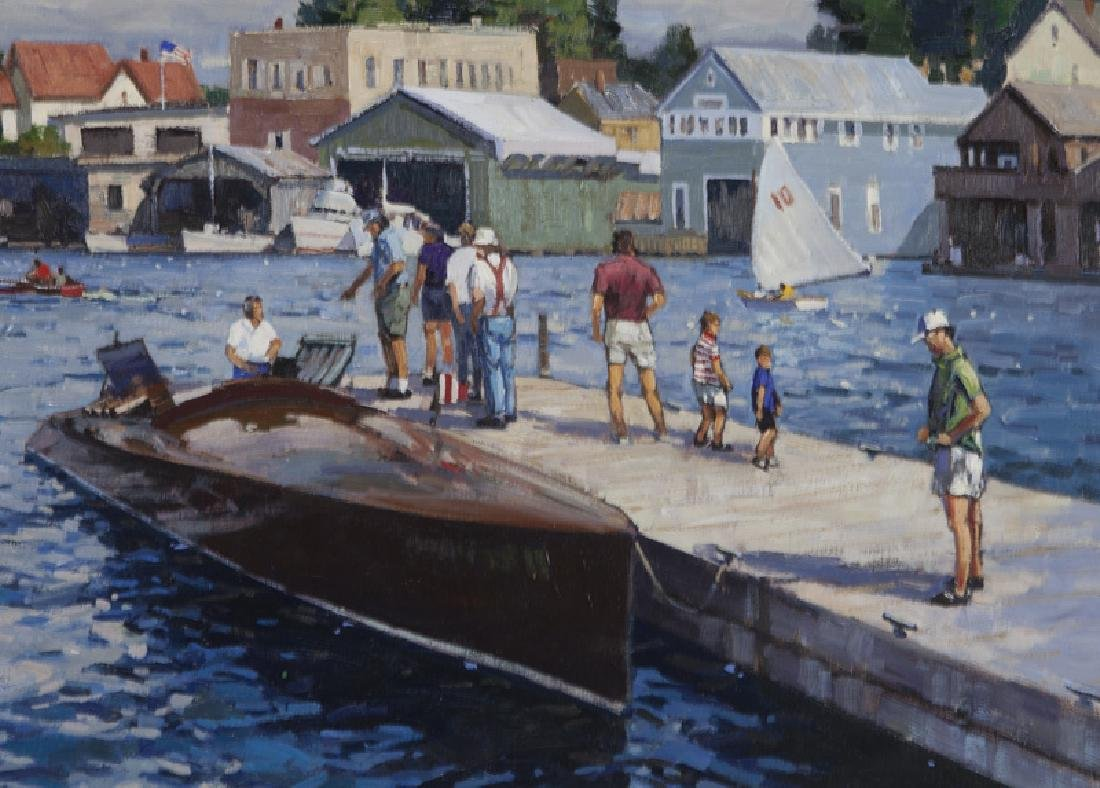 "T. M. Nicholas ""Windy Day Clayton Boat Races"" oil - 4"