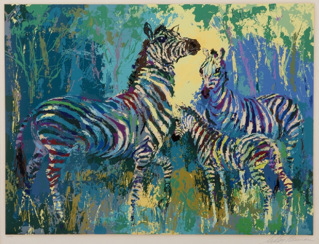 "LeRoy Neiman ""Zebra Family"" serigraph, 1978."