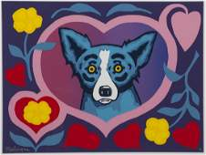 "George Rodrigue ""Love Me Forever"" silkscreen,"