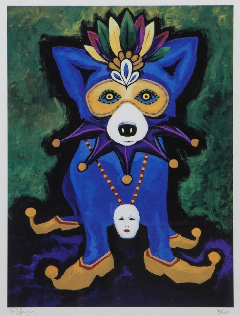 "George Rodrigue ""Mardi Gras Blue Dog"" silkscreen."