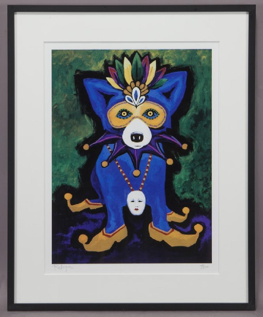 "George Rodrigue ""Mardi Gras Blue Dog"" silkscreen. - 2"