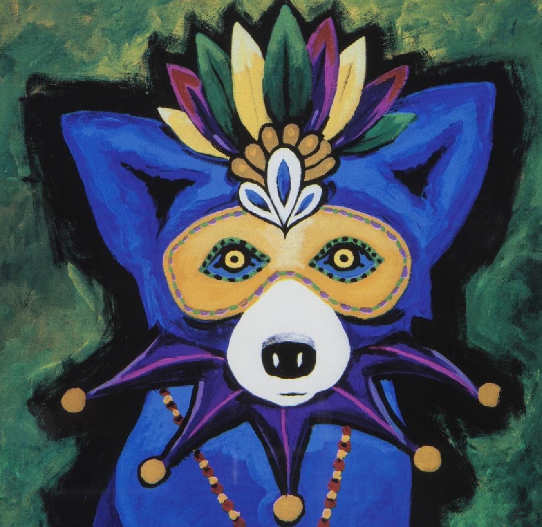 "George Rodrigue ""Mardi Gras Blue Dog"" silkscreen. - 3"