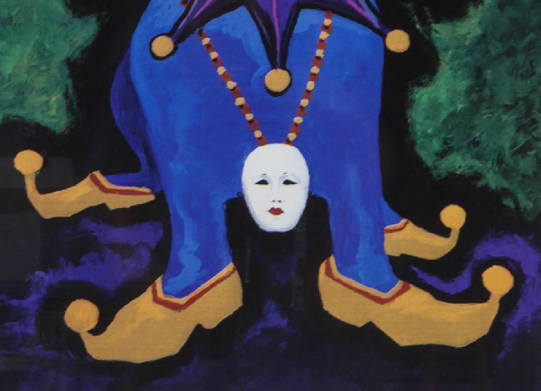 "George Rodrigue ""Mardi Gras Blue Dog"" silkscreen. - 4"
