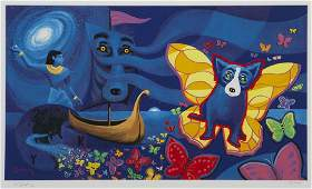 "George Rodrigue ""Millennium"" silkscreen,"
