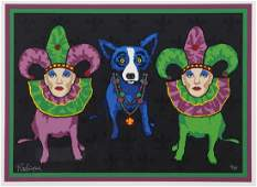 "George Rodrigue ""Krewe de Blue"" silkscreen,"