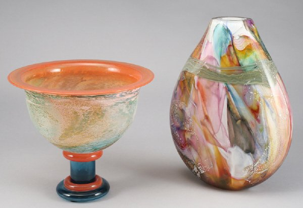 4: (2) American contemporary art glass vases