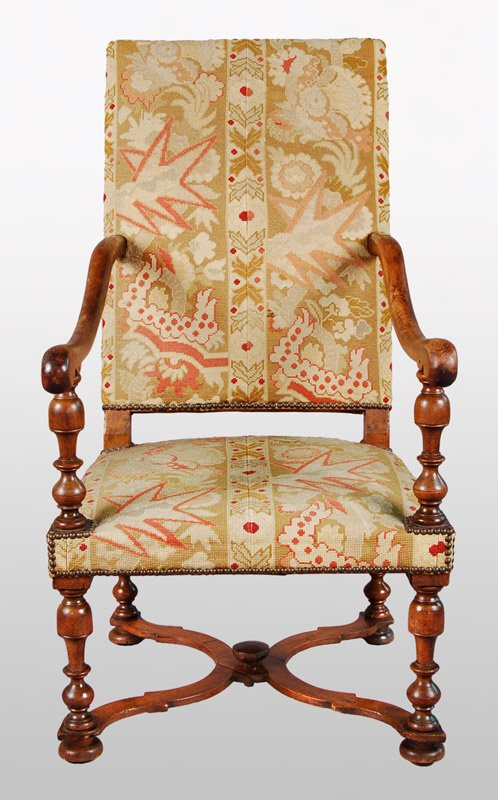 10: William and Mary style walnut  armchair with
