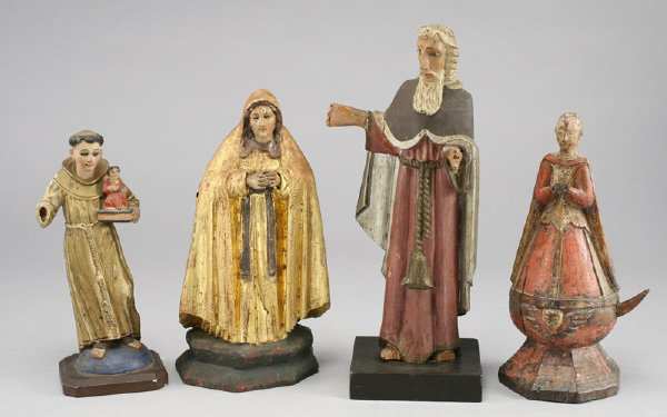 11: (4) Carved wood polychrome Santo figures including