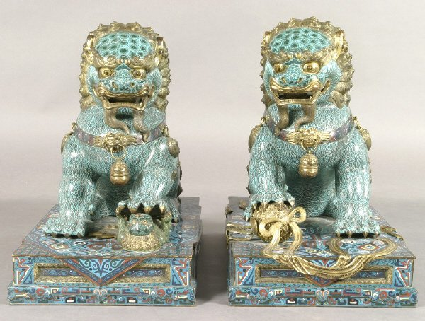 187: Pr. monumental Chinese cloisonne foo lions