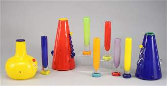 305 9 Pcs contemporary art glass vases including