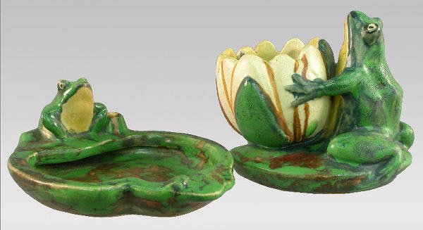 """6: 2pcs. Marked """"Weller Pottery"""" Coppertone."""