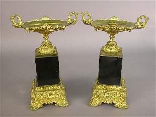 Pair of Louis XV style gilt bronze tazzas