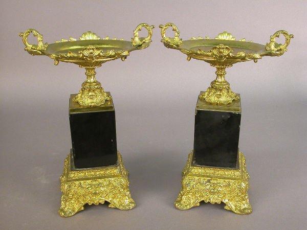 7: Pair of Louis XV style gilt bronze tazzas