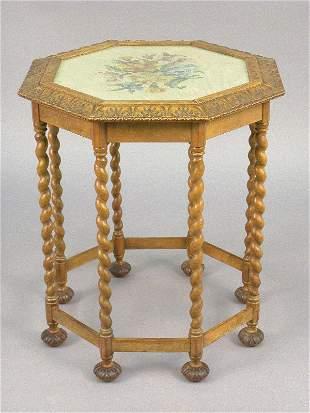 Flemish octagon shaped walnut table w/ twist