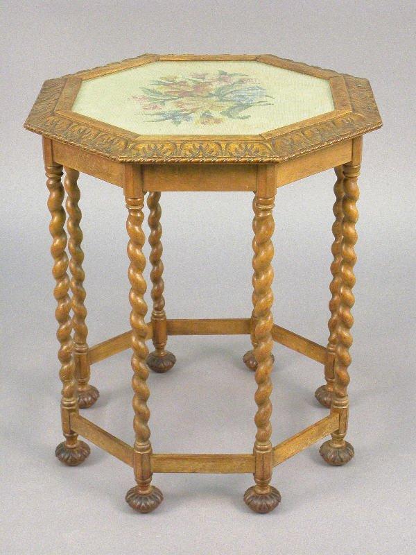 11: Flemish octagon shaped walnut table w/ twist