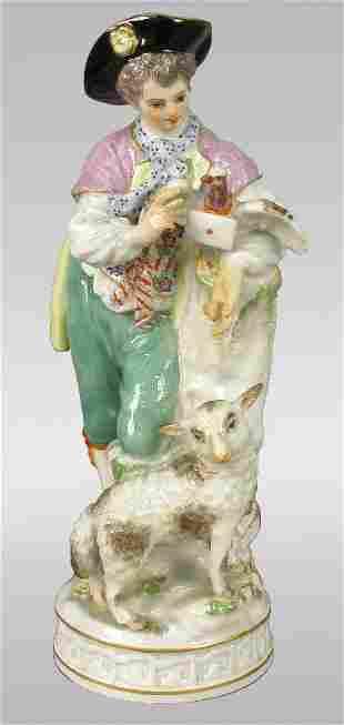 Marked Meissen figural of shepherd with lamb