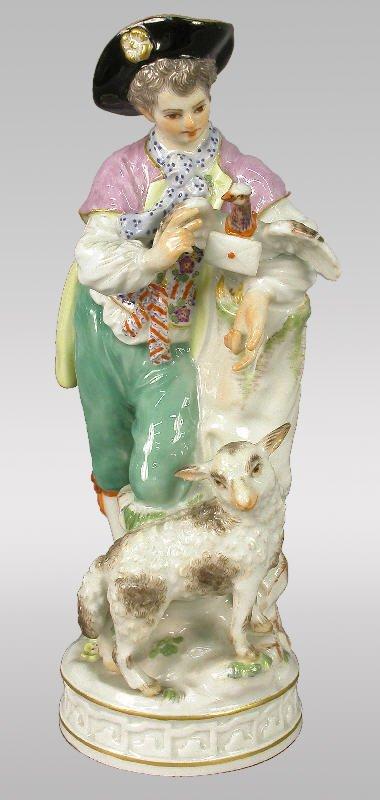 13: Marked Meissen figural of shepherd with lamb