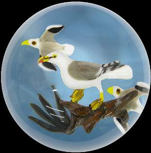 """Signed """"Ayotte '80"""" paperweight with 3 seagulls"""