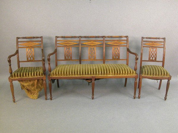 19: 3pc. Sheraton style suite; settee, arm chair