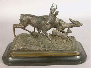 Signed I Bonheur bronze of three deer in